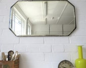Vintage Large Art Deco Bevelled Edge Wall Mirror or Frameless Mirror