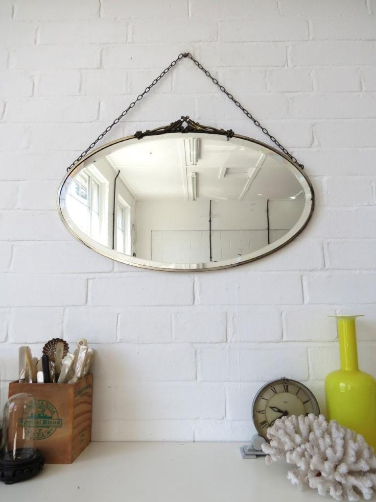 Vintage Large Oval Art Deco Bevelled Edge Wall Mirror By