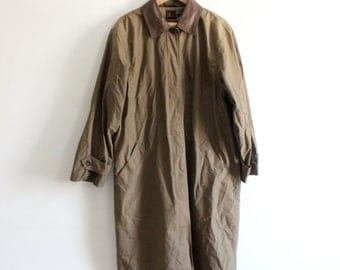 Minimal Olive Green 90s Trench Coat