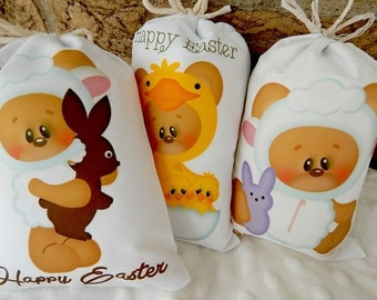 "Easter Favor Bags Dress Up Teddy Bear's for gifts or treats can be Personalized  5"" X 7"" or  6"" X 8""  Qty 6"
