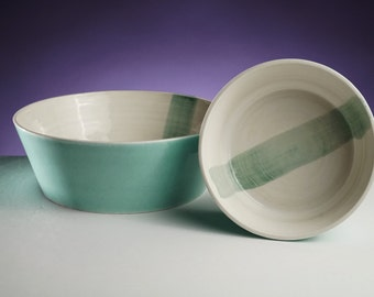 Turquoise brushstroke bowls Modern home decor Ceramic bowls in turquoise - ready made