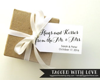 Wedding Favor Tag - SMALL Size - Hugs and Kisses from the Mr and Mrs - 36 Pieces - 2 x 1.1 inches