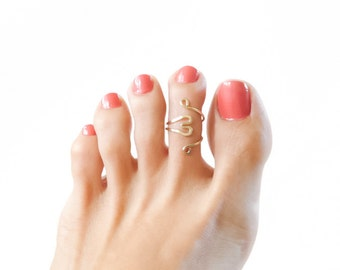 14K Gold Filled HeartToe Ring Adjustable Ring Handmade Jewelry For Women Under 20