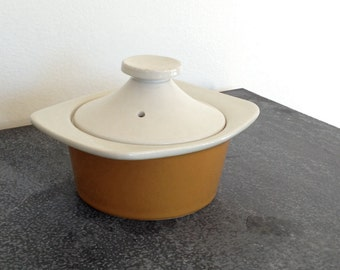 Mid century Restaurant ware - Lidded casserole -Unique Individual Ovenproof Dish - Hall China  - made in USA