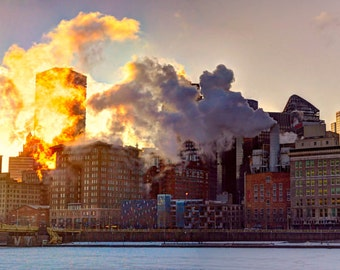 Pittsburgh Panorama Photo, color HDR photograph, fine photography print, Fire and Ice