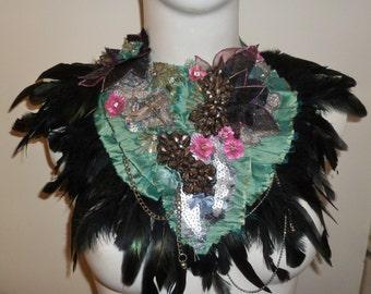 Silk Lily Pond and Dragonfly Showstopper Statement Collar Neckpiece Bib Necklace