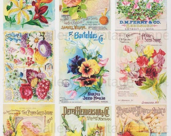 DOWNLOAD-Seed Catalog Covers Instant Digital Collage Sheet 9 Printable Images - Scrapbook - Cards - Gift Tags - Magnets - Cards
