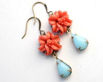 Vintage Orange Flower Lily Drop Earrings Dangle Earrings Vintage Light Blue Glass Filigree Antiqued Gold Earrings Gift For Her