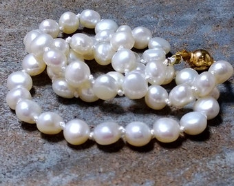 Knotted on Silk White Freshwater Pearl Necklace/ Heirloom Quality/Knotted Pearls/ June Birthstone/ Gift for Her by IndigoLayne