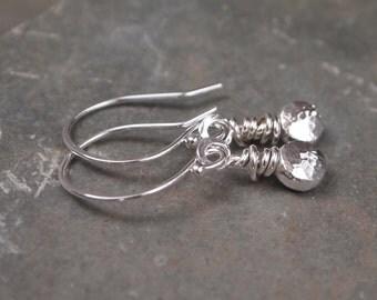 Silver Earrings, sterling silver pebble drop earrings, hammered silver, recycled silver, everyday earrings handmade by arc jewellery UK