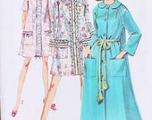 CLASSIC 60s Vintage House Coat Robe Hostess Duster Lingerie Sewing Pattern Feminine Lace Trimmed 3 Styles 2 Lengths Retro Sixties  UNCUT