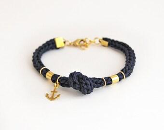 Navy blue anchor bracelet with knot, knit rope bracelet with anchor charm, nautical bracelet, blue bracelet