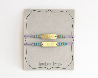 Set of friendship bracelets with beads, hand stamped BFF bracelet set in lilac and turquoise, gift for friends
