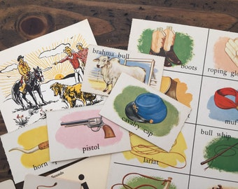 cowboy theme vintage ephemera scrap pack • game pieces and pages • assorted sizes • collage kit • paper craft