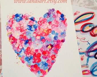 Mothers Day Gift - Floral Heart Illustration Original Watercolor Painting - Illustration by Lana Moes - Home Decor