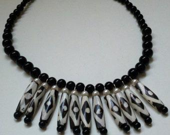Fan Necklace Black and White Batik Bone Tribal Ethnic Boho Bib Necklace