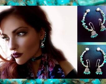 Ear Cuff Earrings, turquoise earrings, turquoise Ear Cuff, 2pc Chain Ear Cuff, Boho Earrings, Bohemian earrings, silver earrings, OOAK,kuchi