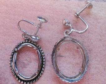 Earrings Silver Screwback 18 x 13mm Oval Screwback Earring Settings (2 Pair)  C177
