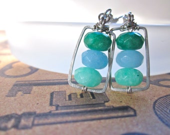 Emerald Isles Hammered Wire Framed Stone Earrings