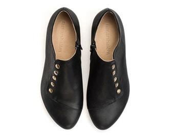 Grace Black shoes handmade flats leather shoes / best sellers  by Tamar Shalem
