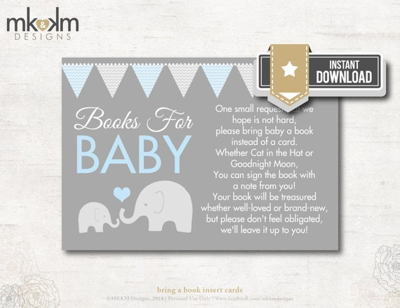 baby shower blue and gray elephant book poem card book insert book
