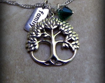 Sterling silver Tree of life pendant, birthstone necklace, personalized jewelry, family necklace, Mothers day gift