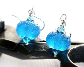 Aqua Blue Glass Earrings, Beach Earrings, Blue Earrings, Beach Jewelry, Lampwork earrings, Blue glass Jewelry by MayaHoney