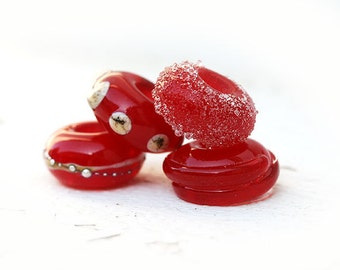 Red European charm beads, Lampwork Glass large hole beads, Bracelet beads, Glass Charm beads, by MayaHoney, SRA