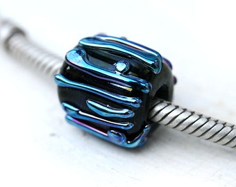 Black glass bead, Large hole bead, Minimalistic jewelry, handmade lampwork, Black charm, Modern jewelry, European Charm, SRA, by MayaHoney