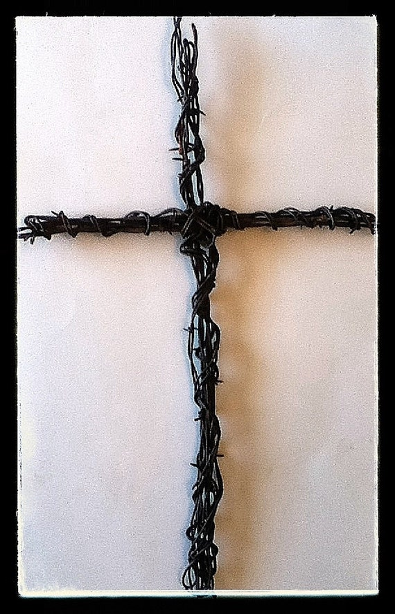 Barbed wire cross wall art decor