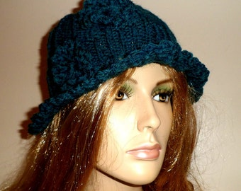 Dark Green Ladies Fashion Knitted Hat.