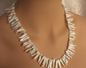 White Biwa Stick Pearl Necklace with Swarovski Crystal