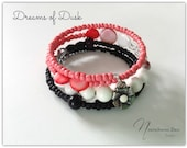 Dreams of Dusk - Coral, Black and White Bracelet
