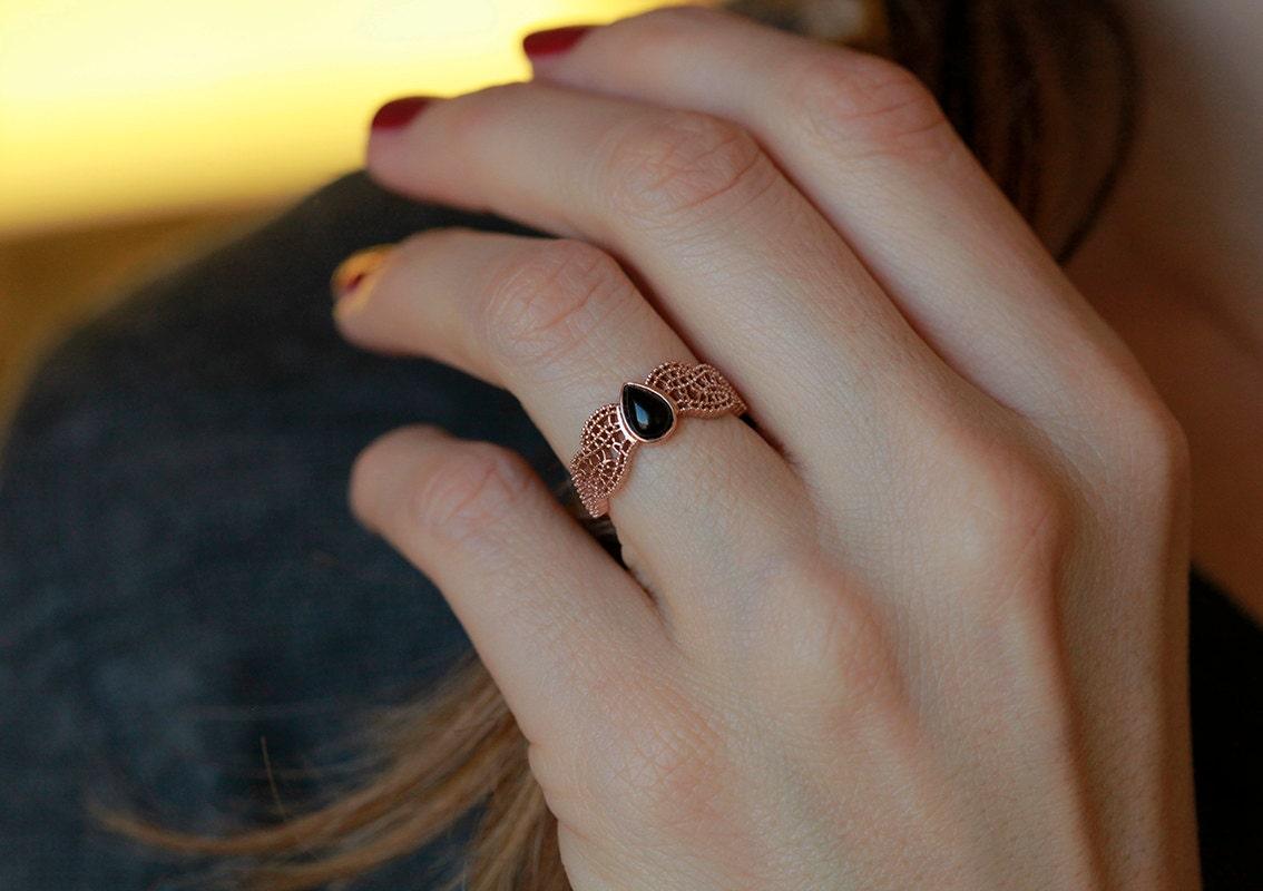 rose gold onyx ring black onyx wedding ring Rose Gold Lace Ring Black Onyx Ring Gold Onyx Ring Gold Filigree Ring 14k Solid Rose Gold