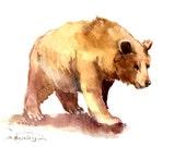 Brown Bear , original watercolor painting, 12 x 9 in