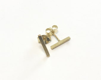 333 earrings gold chopsticks square - handmade jewelry