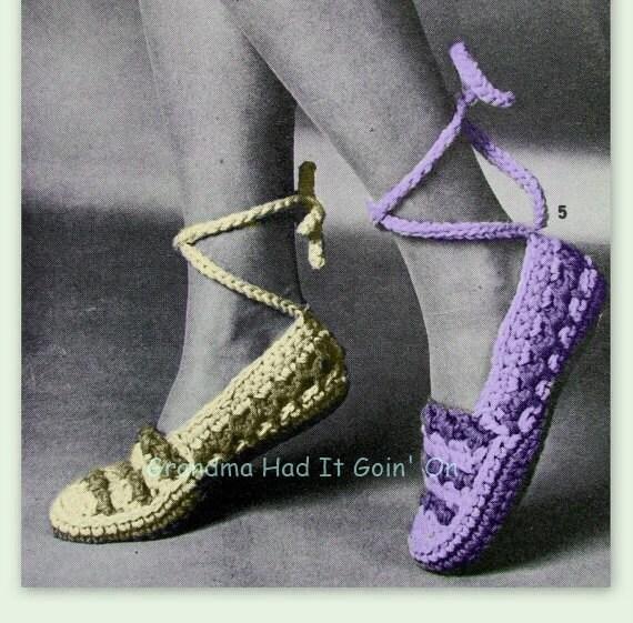Vintage Crochet Slipper Pattern Ankle Wrap House Slippers