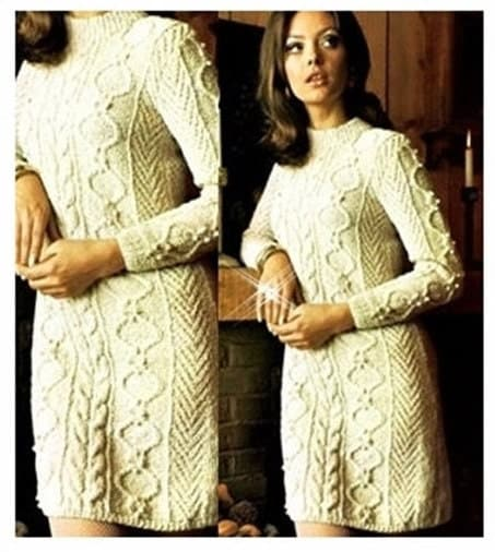Knitting Pattern Dressing Gown : KNITTING PATTERN Aran Sweater Dress Cable Dress Vintage