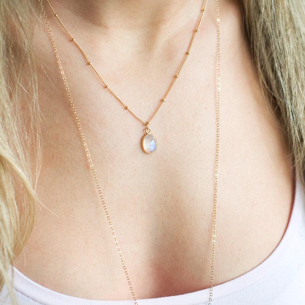 Moonstone Necklaces: Rainbow Moonstone Necklace Moonstone Pendant Satellite