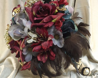 Wedding Brooch Bouquet}STEAMPUNK WEDDING BOUQUET]Rustic Wedding Bouquet,Vintage Jewelry,Cameo's,Feathers,Butterfly's,Boho Chic Bouquet,Bride