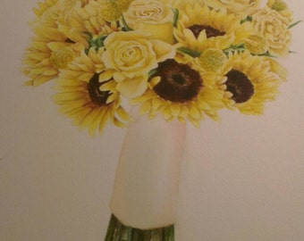 """9""""x12""""  Wedding Bouquet Watercolor Painting"""