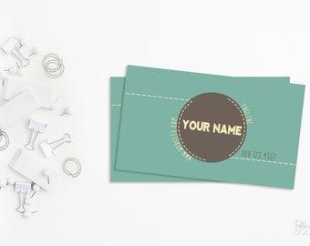 Printable business card design Blue and grey Round text Circular text Modern Retro