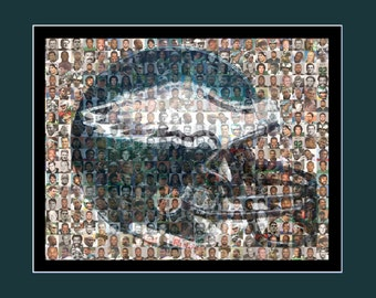 Philadelphia Eagles Photo Mosaic Print designed using over 100 of the greatest Eagle players of all time.