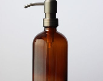 Farmhouse Amber Glass Soap Dispenser - Bronze