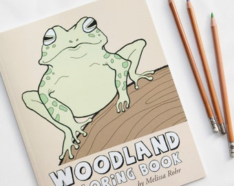 Woodland Coloring Book, Cute Forest Critters Coloring Book, Animals, Fox, Raccoon, Owl, Hedgehog, Frog, Coloring Pages