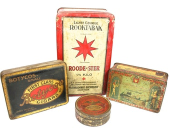 Old Tins Instant Collection Tobacco Tins Cigar Tin Antique Tins Small Metal Tins