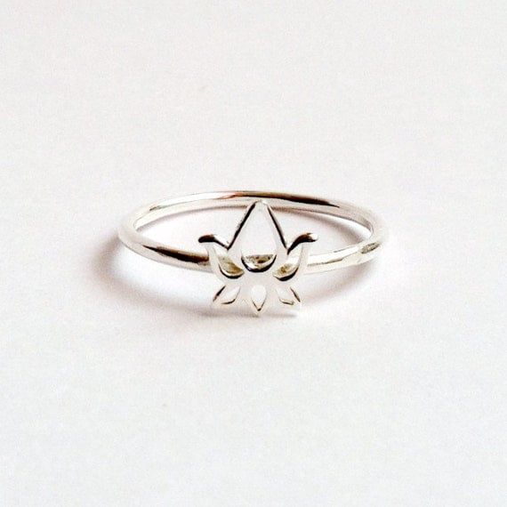 sterling silver lotus ring custom handmade stacking by