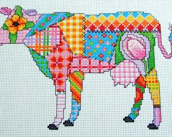 Cross Stitch Patchwork Cow Pdf Instant Download Pattern