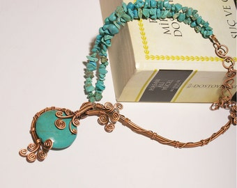 turquoise necklace-copper wire wrapped jewelry handmade -  christmas gifts