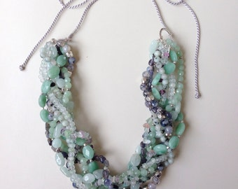 SALE! 25% OFF Beaded gemstone statement necklace; handmade